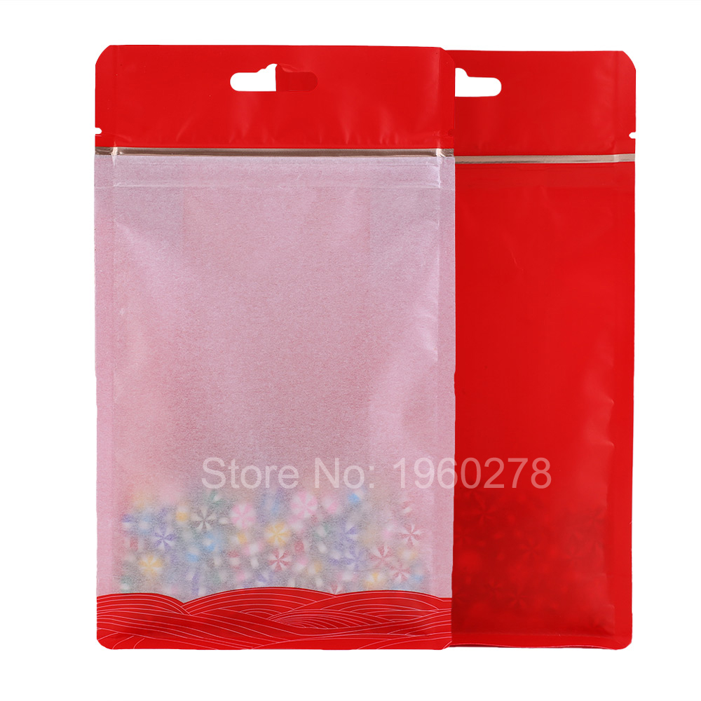 High quality 12x21cm (4.7x8.3in) 100pcs Barrier Red ziplock aluminum foil lined side gusset packaging bag for tea coffee bean(China (Mainland))