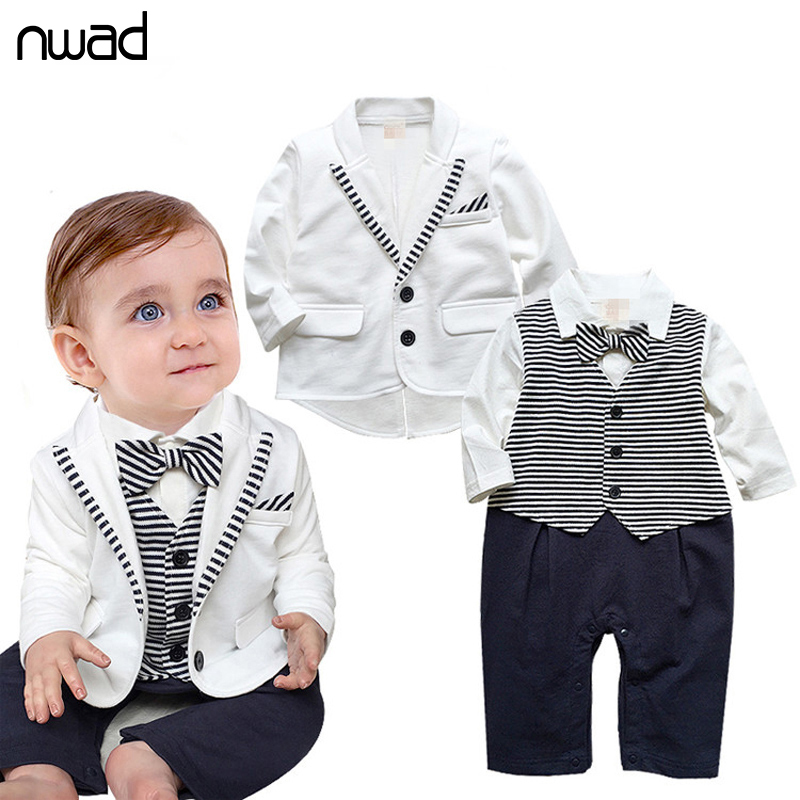 2016 New Brand Baby Boys Clothing Set Gentleman Baby Kids Clothes White Coat+ Striped Rompers Newborn Wedding Suit FF028(China (Mainland))