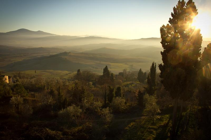 Canvas Prints Stretched Framed Fine Art Giclee Artwork For Wall <font><b>Decor</b></font> Forest <font><b>Italian</b></font> Mountains Tuscany Landscape Nature Sunrise