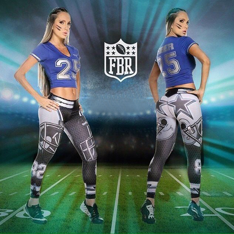 Woman Yoga Pants Fitness Fiber Sport Leggings Dallas Cowboys Sports Tights Trousers Exercise Training Gym Clothing Sportswear(China (Mainland))