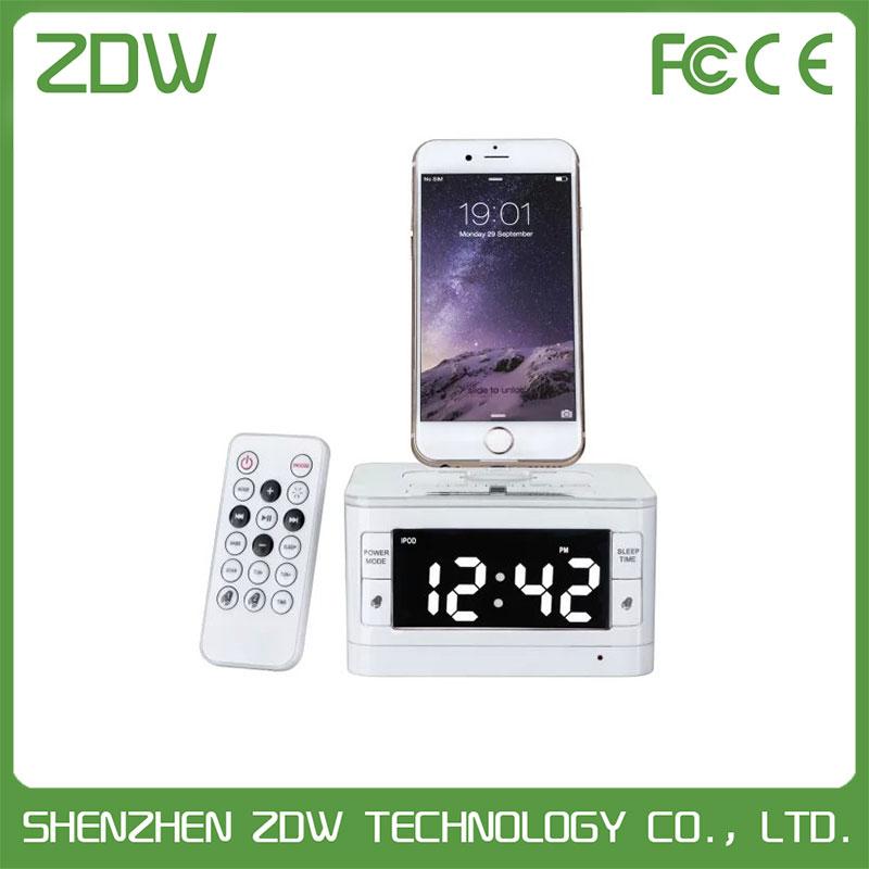 Bluetooth Docking Station Radio Alarm Clock Music Player LCD Digital Hotel Bluetooth Speaker Charging Dock for iPhone 5 5s 6 6s(China (Mainland))