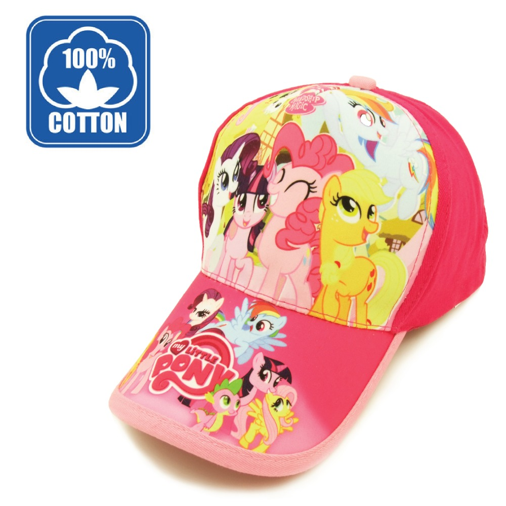 Cotton Cartoon Lovely Cute My Little Pink Girl Rainbow Dash Pony Friendship Is Magic adjustable baseball caps hat children kid(China (Mainland))