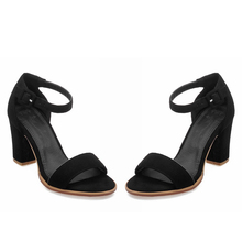 Hot women's summer shoes Nubuck Leather Concise Gladiator sandals Solid Buckle Strap high heels Cover Heel office lasy pumps