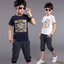 Boys Clothing Sets Cotton Sports Suits Short Sleeve Sportswear Summer Children Tracksuits Boys Clothes T-Shirts & Plaid Pants(China (Mainland))