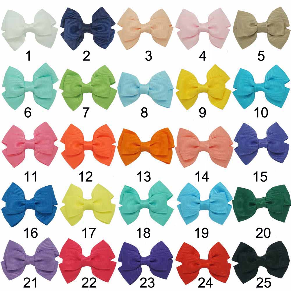 """Free Shipp 50 Pcs/lot 2.5"""" Bbay Solid Hair Accessories With Clip,Boutique Hairbow For Kids,Fashion Girl Mini Ribbon Bows(China (Mainland))"""