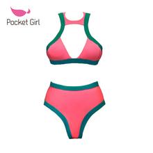Pocket Girl 2016 Biquini Women Push High Waisted Cut Swimwear Bandage Bikinis Set Brazilian Vintage Maillot De Bain - store