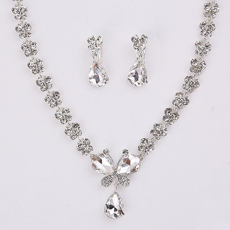 Womens Wedding Jewellery Sets Fashion Bride Earrings Pendant Necklace+earrings Jewelry Wedding (2)