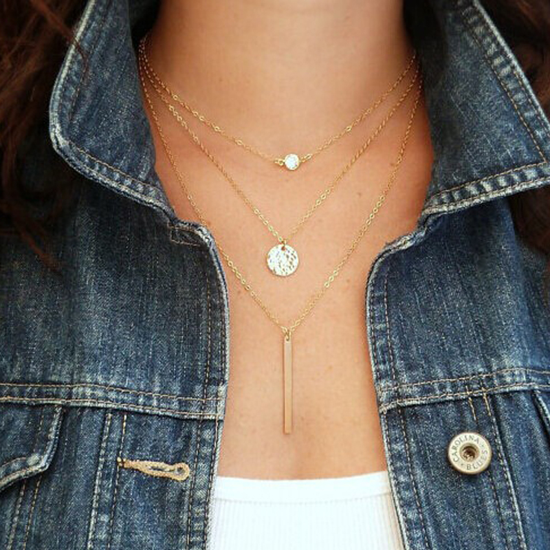 Europe and American Retro Minimalist Personality Ladies Multilayer Gold Plated Pendant Necklace(China (Mainland))