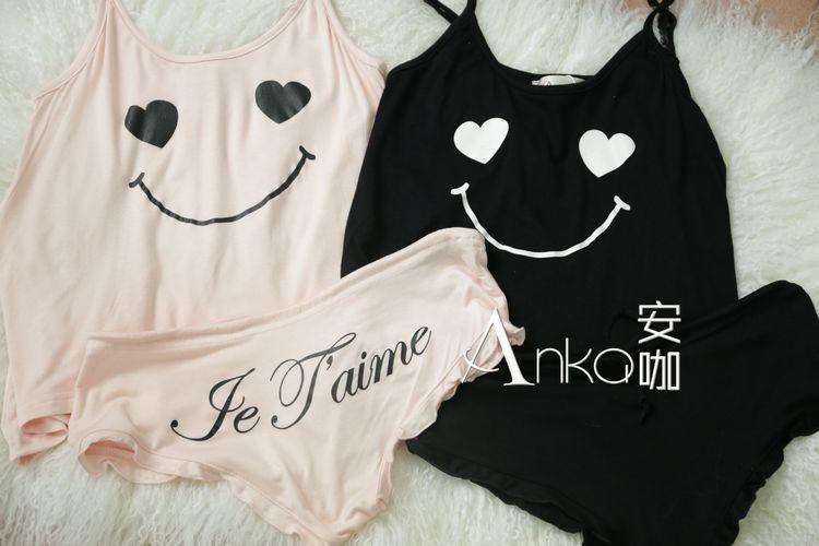 2016 новой моды милые улыбки Холтер Топ пижамы камзол шорты домашних хозяйств женщин пижамы высокое качество пижамы
