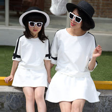 2016 family look matching mother daughter clothes outfits girls clothing sets summer women fashion t-shirts + skirts 2 colors