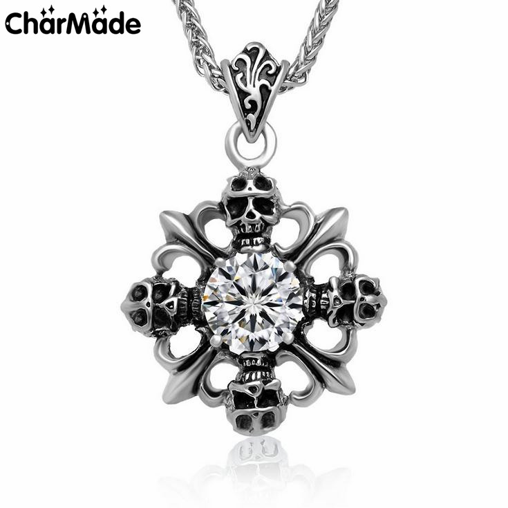 Gothic Cross Iris Skull CZ Gemstone Pendant 316L Stainless Steel Men Women Jewelry 32inch Braid Foxtail Chain P012(China (Mainland))