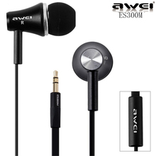 2016 Original Awei ES300M Super Bass 3.5mm In Ear Metal Earphone No Mic Great Sound Earbuds for iPhone Samsung HTC