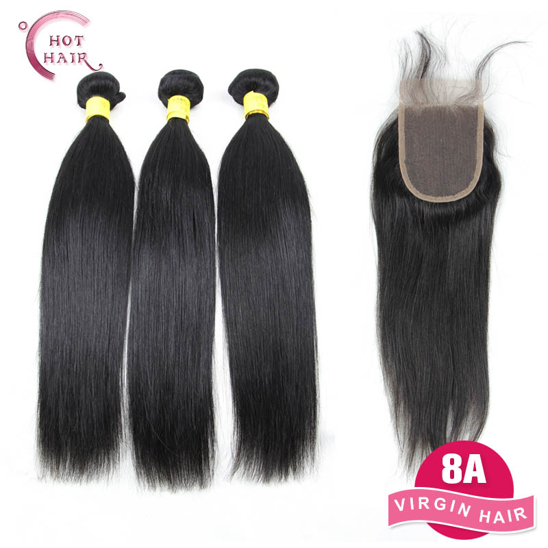 8A Unprocessed Brazilian Virgin Hair Straight with Closure 3 bundles with 4*4 Lace Closure Straight Human Hair with Closure(China (Mainland))