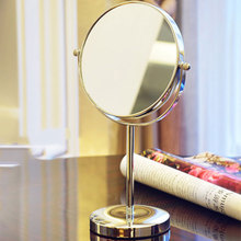 Rotatable T-sided desktop mirror 6 inches cute princess vanity mirror stainless steel looking glass for gift(China (Mainland))