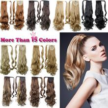 """22"""" Synthetic Hair Long Wavy Clip In Ribbon Ponytail Hair Extensions curly Hairpiece Fake Hair pony Tails ponytails hair pieces(China (Mainland))"""