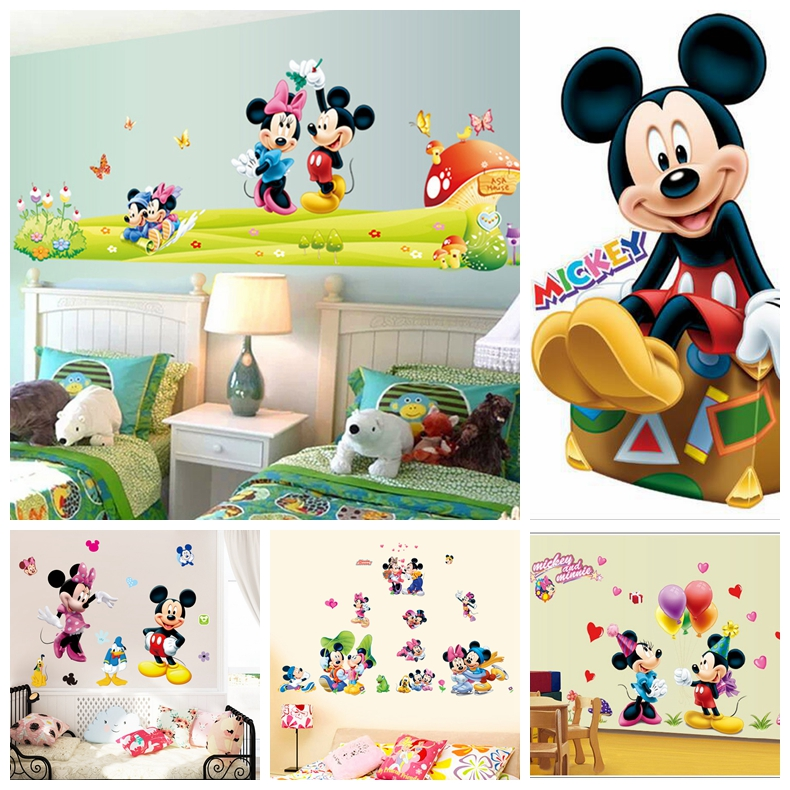 Hot Mickey Mouse Minnie mouse wall sticker children room nursery decoration diy adhesive mural removable vinyl wallpaper XY8126(China (Mainland))