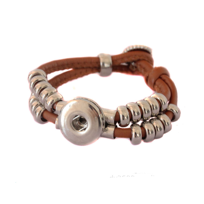 Snap Jewelry Bouton Pression Leather Bracelet for Women Brown Wrap Bracelet DIY Button Charm Bracelets Ginger Snaps Pulseira(China (Mainland))