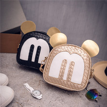 2016 PU leather woven round shape matching children bag Lovely Mickey messenger bag Crossbody Bag for