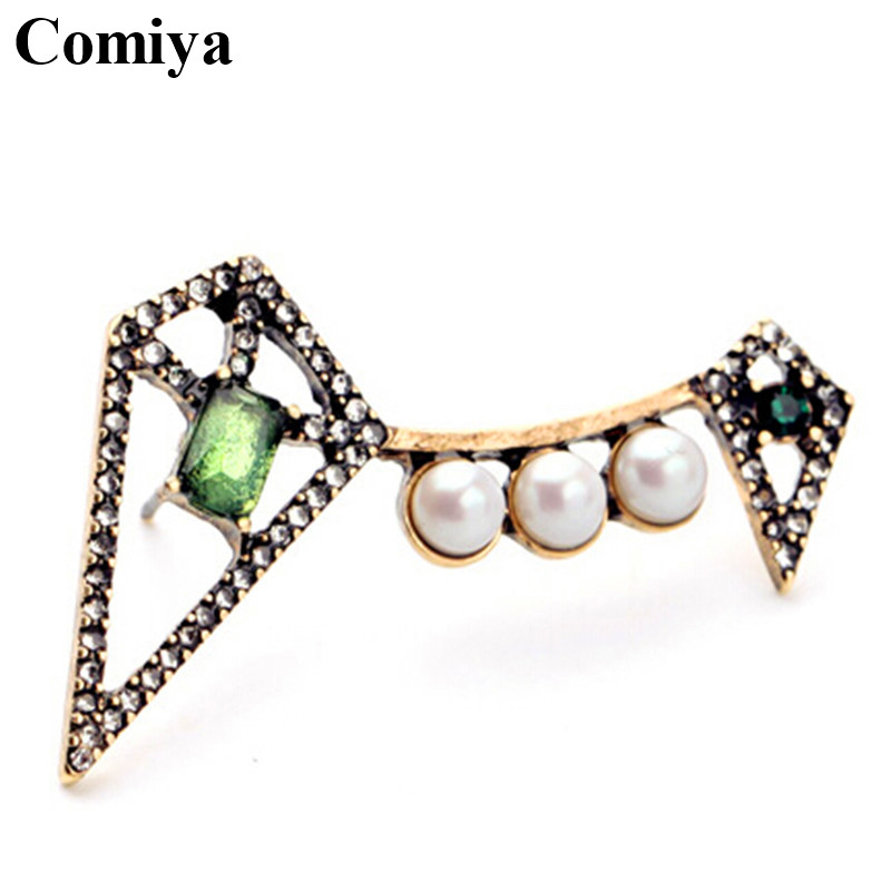 comiya basket femme gold color filled geometric shape zinc alloy imitation pearls rhinestones stud earrings wholesale - Basket Femme Color