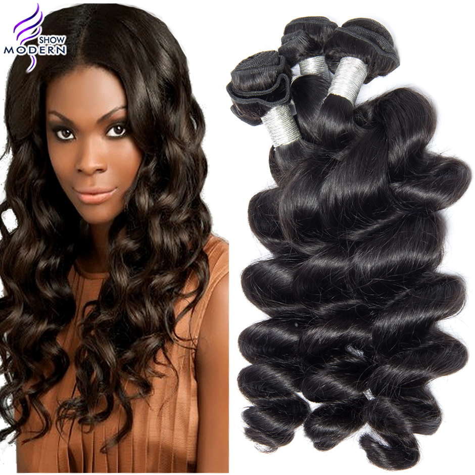 Peruvian loose wave 3/4pcs lot grade 5A unprocessed human hair Luvin hair products Peruvian virgin hair loose wave Modern Show <br><br>Aliexpress