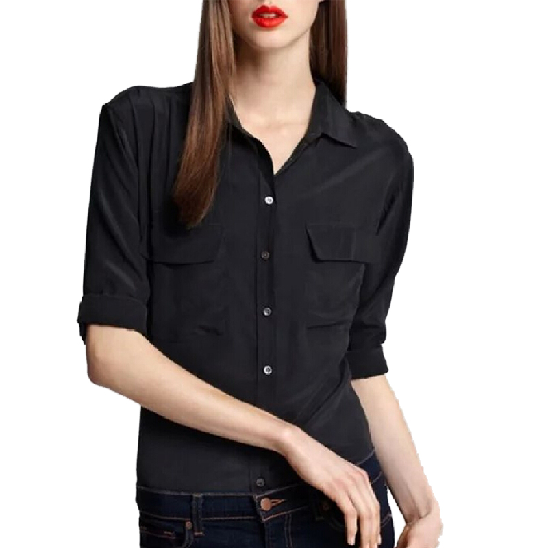 women classic solid long sleeve chiffon blouse turn-down collar pockets design casual shirts ladies summer fashion tops LT910(China (Mainland))