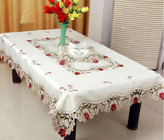 Home hotel dining/wedding White Red Table Cloth with Lace Jacquard Floral Rectangular Tablecloth to table covers(China (Mainland))