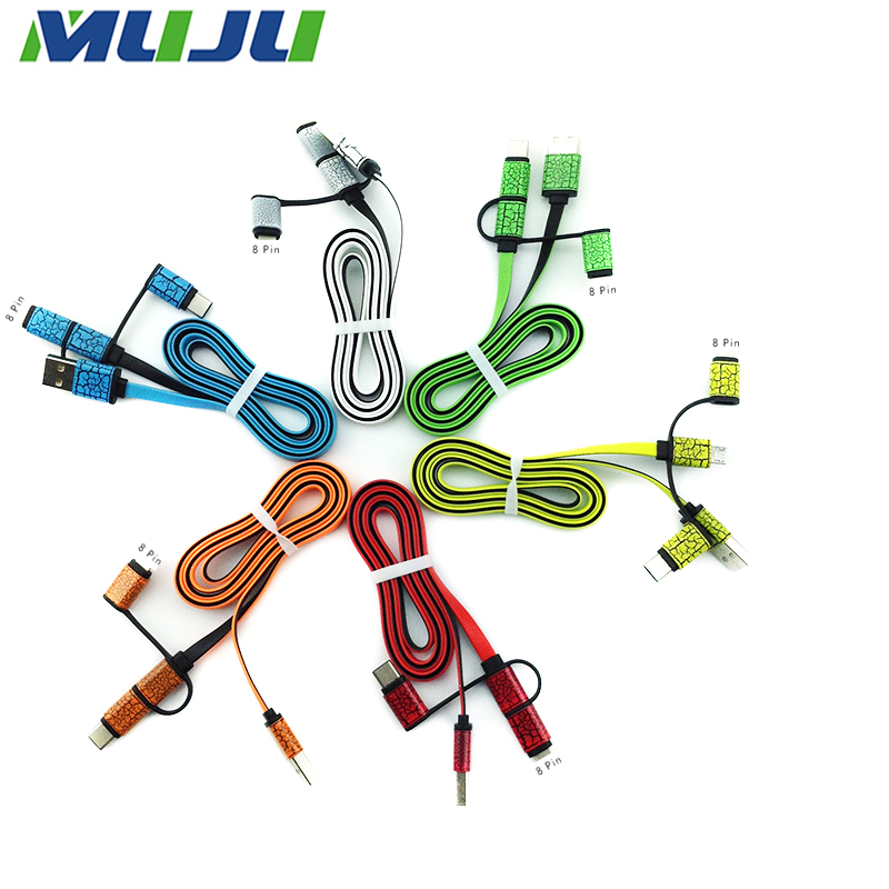 50pcs/lot Leather USB Cable Type C+5pin+8pin 3 in 1 Rapid Data Sync Charge For Samsung Google Mi iPhone 5 6 iPad 4 Air Pro(China (Mainland))