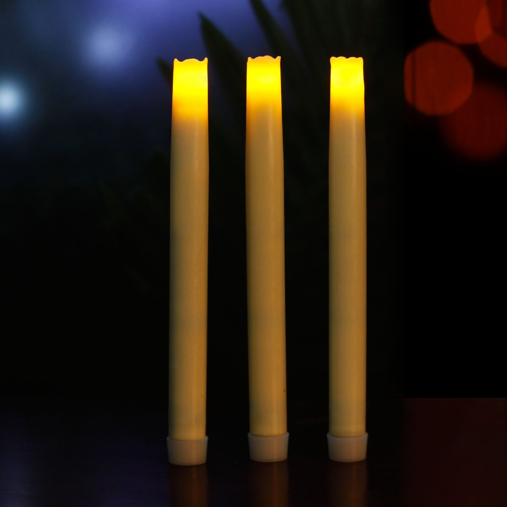 Home Impressions Battery Operated Smooth Flameless Real Wax Led Taper Candle light,Six Hour Timer,9 Inch, Ivory,Pack Of 3(China (Mainland))