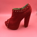 New Red Peep Toe Rivets Thick Platform Women Pumps Square High Heels Artificial Suede Side Zipper