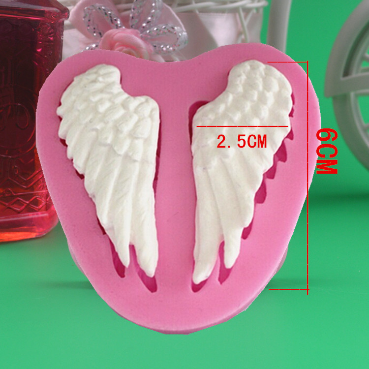 Sticking Cake Decorations On Fondant : 2015 Beautiful Angel Wings Shape Silicone 3D Mold Cookware ...