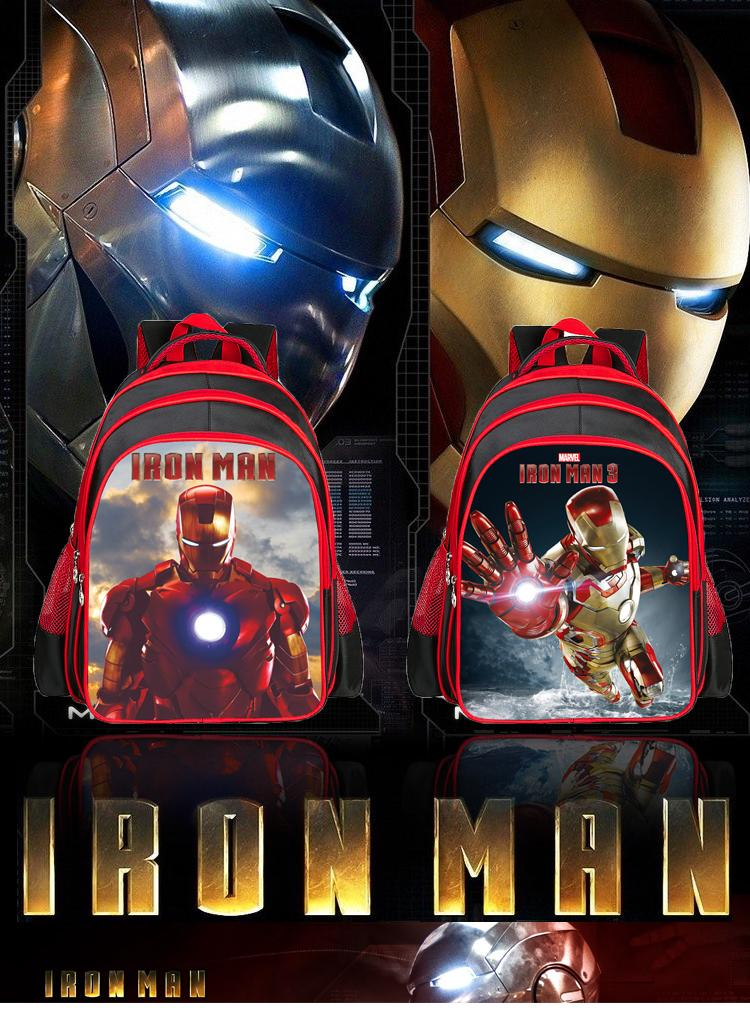 2015 HOT Kids Backpack Superhero Iron Man First School Bags Satchel Mochila 3D Cartoon Orthopedic Children Boys