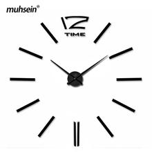 Metal+Eva+Acrylic muhsein 2016 New Free Shipping Fashion 3D Super Big size Mirror wall stickers DIY Wall clocks Home Decor