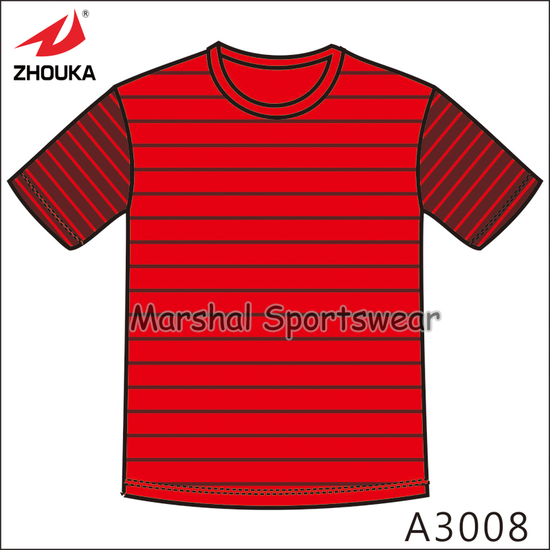 Red black strips design,2016 Newest available design sketch,wholesale price,fully sublimation custom soccer jersey for men(China (Mainland))