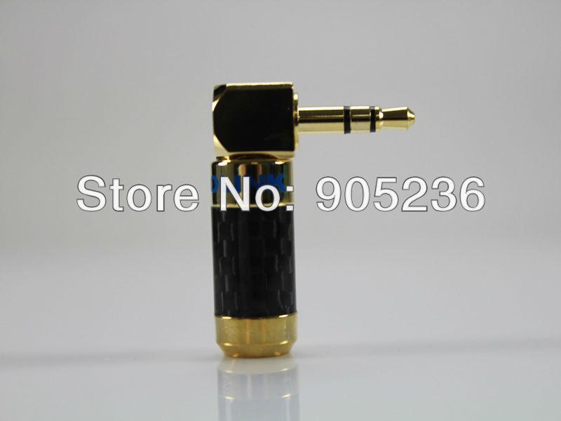 ACROLINK CF-3.5L 24K Gold Plated 3.5mm Stereo Jack Male Carbon Fiber 90 Degree Adapter diameter 7mm for diy Headphone plug