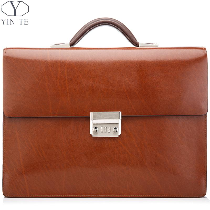 New Fashion Business Men Genuine Leather Briefcase ,Laptop Briefcase Office Bag Lawyer Messenger Bag No brand High Quality Bag(China (Mainland))