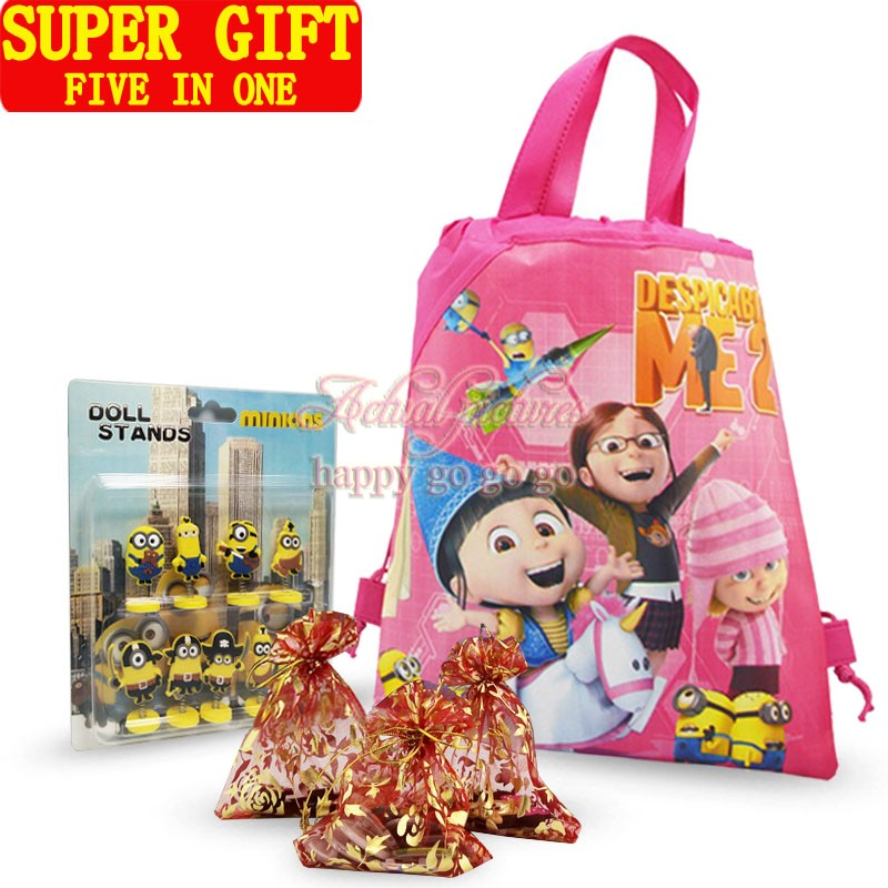 Five in One Super Gifts Bags Accessories,1set Minions Cartoon Event & Party Supplies Favors,High Quality(China (Mainland))