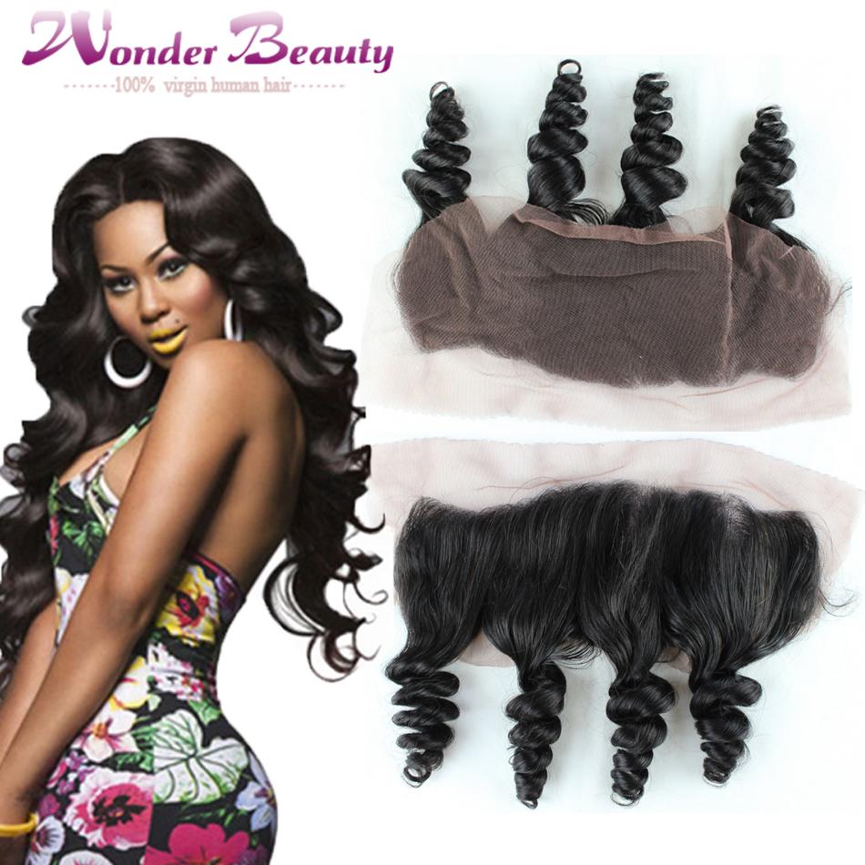 Фотография Best Quality Lace Frontal Closure Brazilian Virgin Hair Loose Wave Full Frontal Lace Closure 13x4 Ear To Ear 1pc Lace Frontal