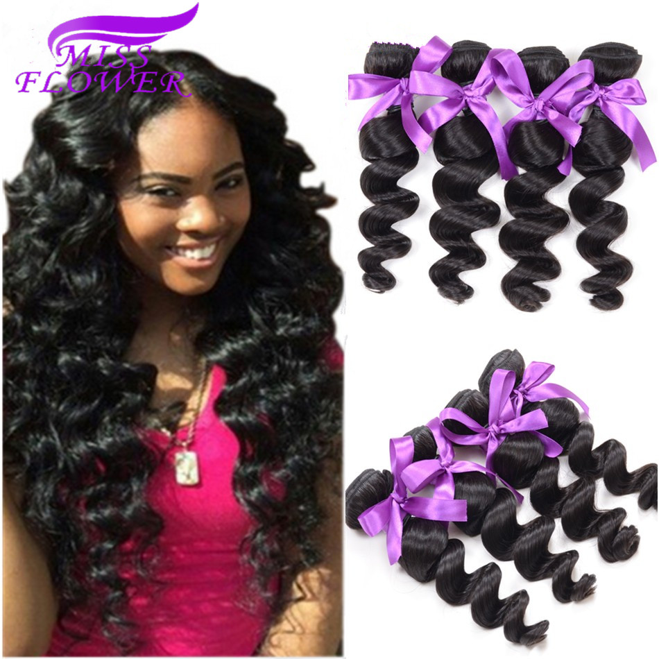Rosa Hair Company Peruvian Virgin Hair Loose Wave 4 Pcs/Lot 7A Unprocessed Virgin Peruvian Loose Wave 100% Human Hair Weaving