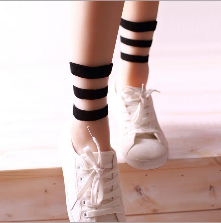 2016 new summer fashion transparent crystal socks Japanese socks glass fiber socks three bars