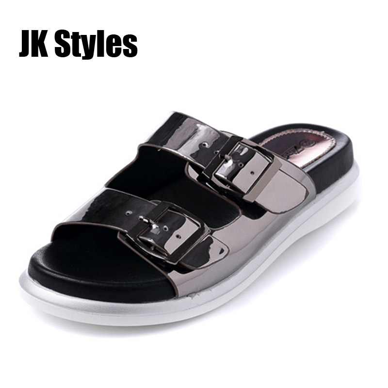 Women Slippers Big Size 40 Pewter Red Color Patent Leather Woman Buckle Strap Slippers Flats Ladies Summer Fashion Slippers(China (Mainland))