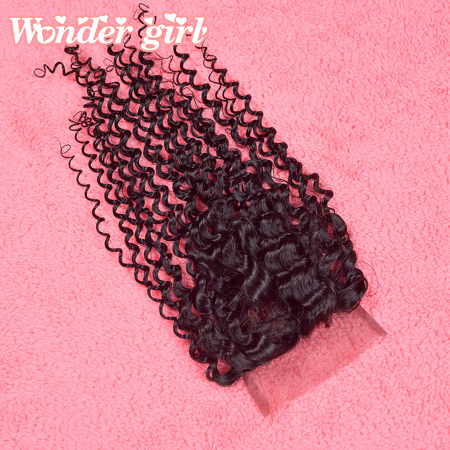 Grade 7A peruvian kinky curly lace closure free middle 3 Part Kinky Curly Top Lace Closure Bleached Knots Pieces Free Shipping<br><br>Aliexpress