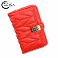 High grade Chequer Sweet Lady Wallet W045 Short Hasp Women Purse 2016 Luxury Design Handbag High