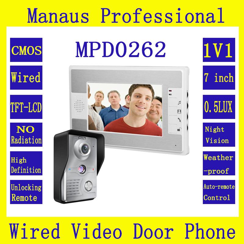 Новый 7-дюймовый цветной дисплей видео-Телефон двери 1х1 дверной звонок домофон Kit 1-камера 1-монитор ночного видения видео домофон D262b