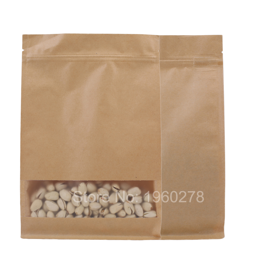 """20x30cm (7.9x11.8"""") Recyclable brown Kraft Paper plastic packaging bag with clear window coffee bean tea snacks packing bags(China (Mainland))"""