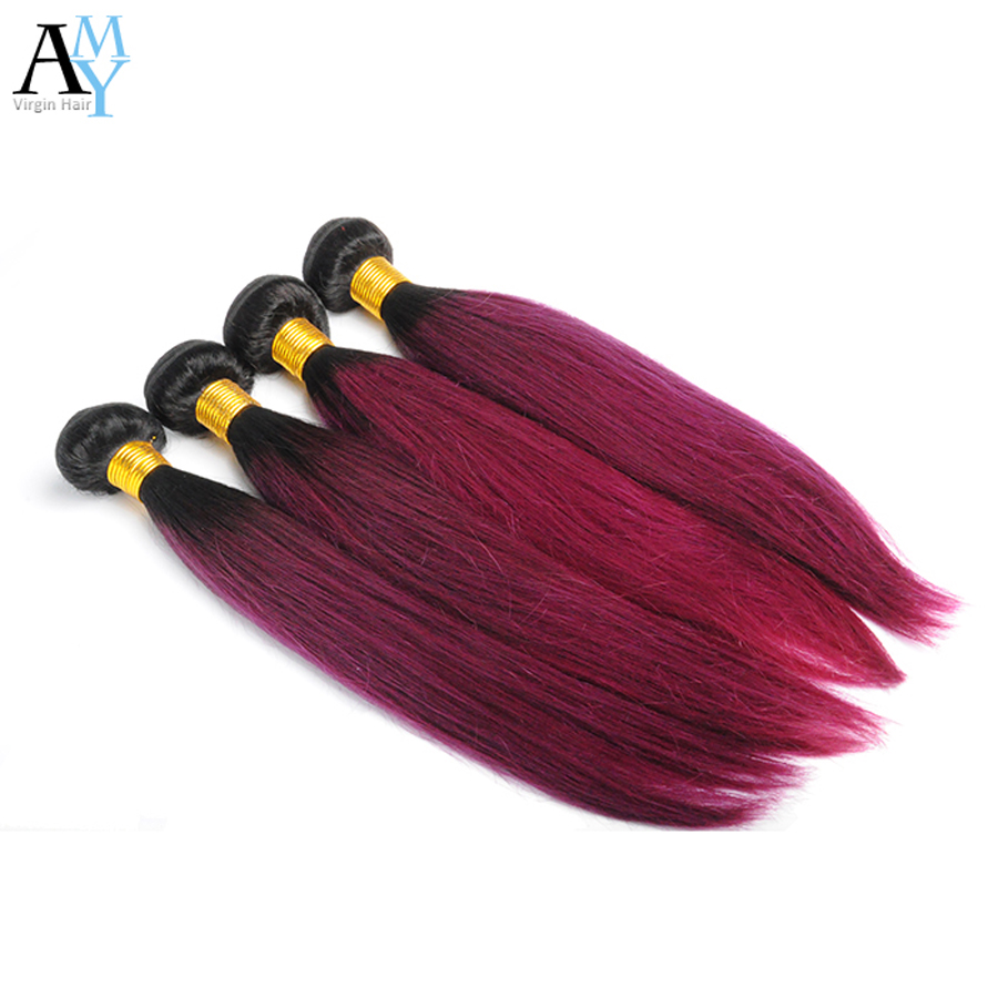 Two Tone Ombre Hair Weaves Burgundy Malaysian Red Bundles 7A Virgin Malaysian Hair Silky Straight 3 bundles <br><br>Aliexpress