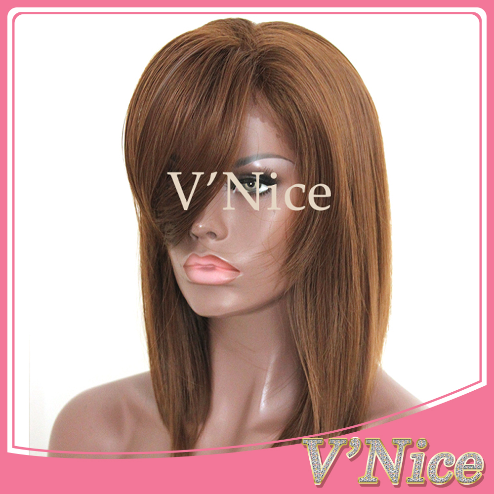 Brown Highlights Bob Lace Front Wigs Short Heat Resistant Fibers Synthetic Wigs with Bangs for Black Women   <br><br>Aliexpress