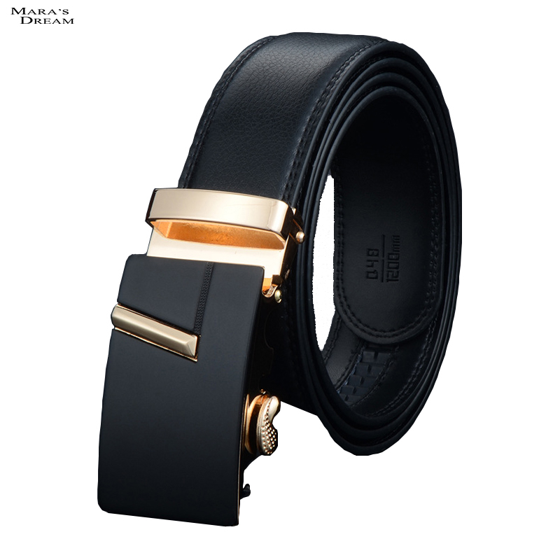 Mara's Dream 2016 High Quality Mens Brief Hot New Cowhide Belt Genuine Leather Fashion Belt Male Strap Automatic Buckle Belt(China (Mainland))