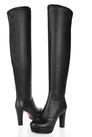 Free Shipping Over Knee Natrual Real Genuine Leather High Heel Boots