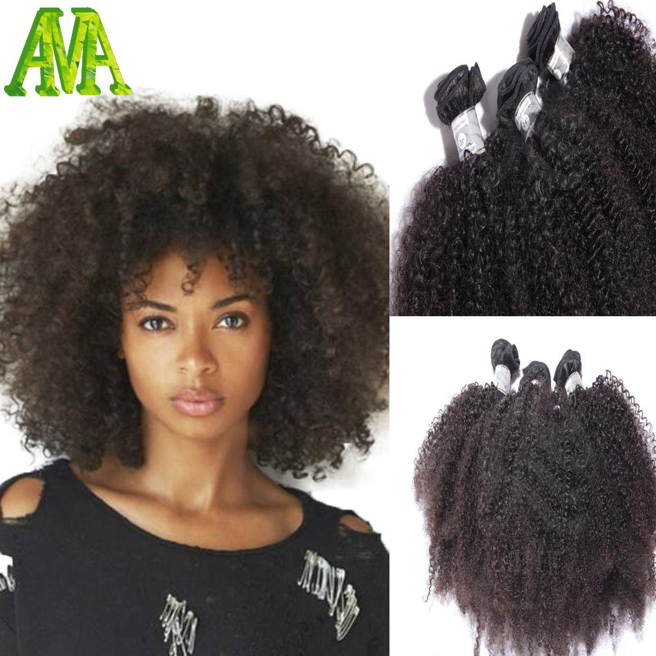 Brazilian Hair Weave Bundles Afro Kinky Curly Human Hair Weaves 8A Grade Brazilian Virgin Hair Kinky Curly Human Hair Extensions(China (Mainland))