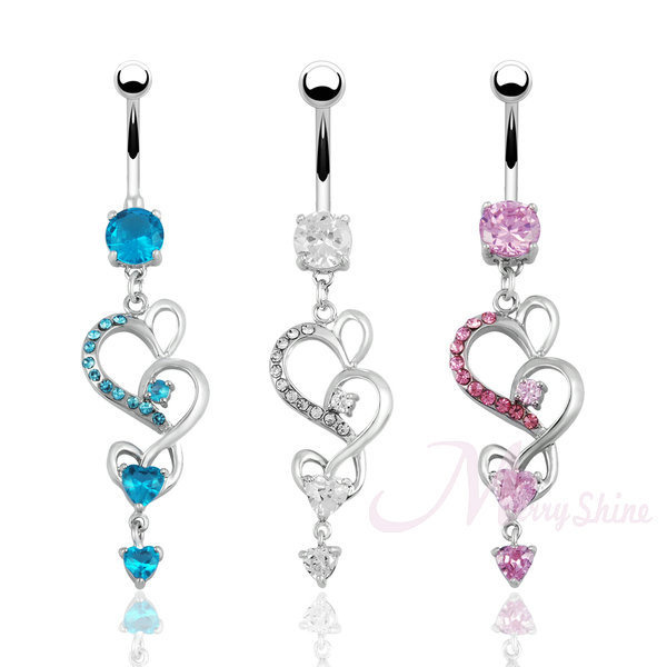 Cute belly button rings dangle